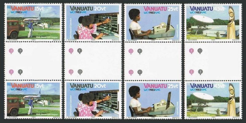 Vanuatu 360-363 gutter,363a,MNH.Mi 666-669,Bl.5. WCY-1983.Mail Transport,Telex,
