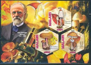 MALAWI 2012 MUSHROOMS - EMIL CHRISTIAN HANSEN - PART VI SHEET OF 3 STAMPS IMP