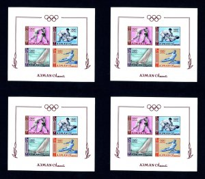 FREE SHIPPING - 4 Ajman # 36b 1964 Olympics Imperforate NH Souvenir Sheets