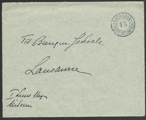 SWITZERLAND 1914 Military cover to Lausanne - Battaillon 15................58389