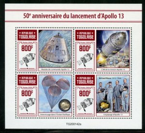 TOGO 2020  50th ANNIVERSARY  OF APOLLO 13  SHEET MINT NEVER HINGED
