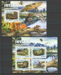 ST1559 2016 S. TOME & PRINCIPE INSECTS FAUNA BUTTERFLIES 1KB+1BL MNH