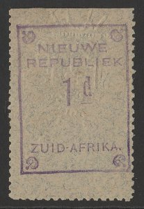 TRANSVAAL - NEW REPUBLIC 1887 1d Violet with embossed arms on blue granite paper