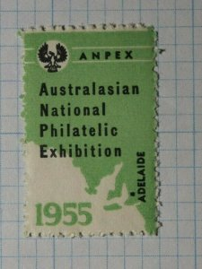 Australasin Natl Philatelic Exhibition 1955 Adelaide Souvenir Ad Label