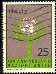 Tree, United Nations, 25th Anniv., Italy stamp SC#1023 used