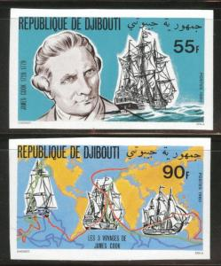 Djibouti Scott 519-520 MNH** Imperforate Captain Cook set