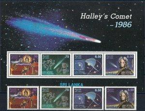 1986 Sri Lanka Halley´s Comet, Space, Souvenirsheet+compl set VF/MNH, CAT 17$