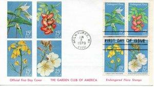 US FDC #1786a Endangered Flora, 1st Cachet Garden Club Of America (7883)