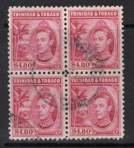 TRINIDAD & TOBAGO SG256 1940 $4.80 ROSE-CARMINE FINE USED BLOCK OF 4