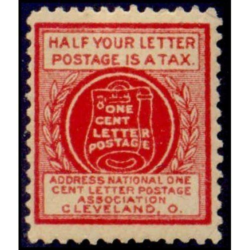 US - National One Cent Letter Postage Association Stamp - Type IV (#1)