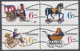 #1415-1418c 6c Christmas Toys Precanceled Block of 4 1970 Mint NH