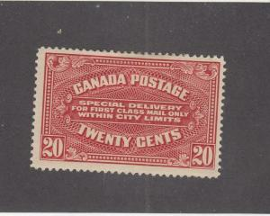 CANADA (MK91) # E2  VF-MH  20cts  1922 /SPECIAL DELIVERY/ CARMINE CAT VALUE $150