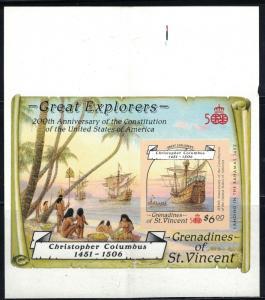 St.Vincent-Grenadines GreatExplorers-200thAnniv.US Constitution-2 SSBothImperfs