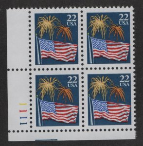 US, 2276, MNH, PLATE BLOCK, 1987-88, AMERICAN FLAG & FIREWORKS