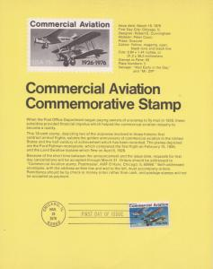 1976 COMMERCIAL AVIATION AIRMAIL FDC SOUVENIR PAGE