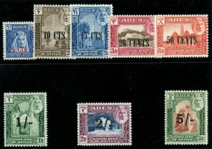 Aden-Kathiri 1951 KGVI New Currency set complete superb MNH. SG 20-27. Sc 20-27.