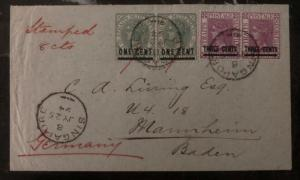 1894 Singapore Malaya Cover To Mannheim Germany 8 Cents Stamped