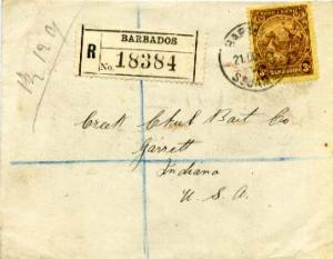 Barbados 3d Seal of the Colony 1927 Barbados, St. James Registered to Garrett...