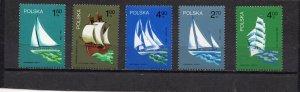 POLAND 1974 SAILING SHIPS SET OF 5 STAMPS MNH