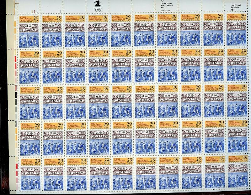 US SCOTT# 2616 WORLD COLUMBIAN SHOW COMPLETE SHEET OF 50 STAMPS MNH AS SHOWN