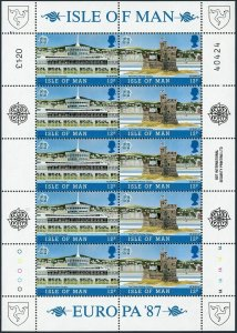 Isle of Man 331-34a sheets,MNH.Michel 335-338 klb.EUROPE CEPT-1987.Architecture.