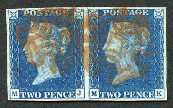 1840 2d Deep Blue (MJ/MK) Plate 2 SUPERB Pair with Red Crosses Ex Wills