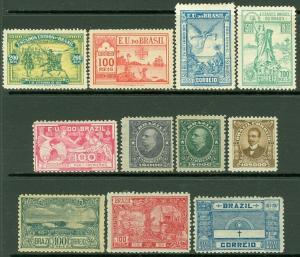 EDW1949SELL : BRAZIL 1900-17 Scott #162-65, 172, 192-97 VF, Mint OG Catalog $138