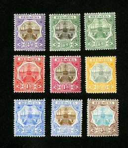 Bermuda Stamps # 31-9 VF OG LH Set of 9 Scott Value $180.00