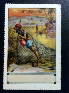 German Poster Stamp - 1001 Nights - Fisherman & Genie