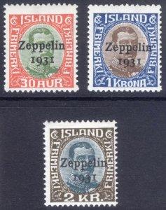 Iceland 1931 30a-2k ZEPPELIN AIR Scott C9-C11 MVLH Cat $142