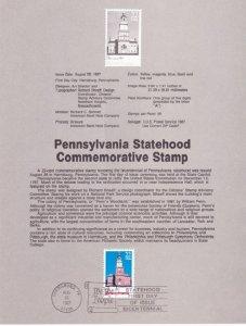 US SP801 Pennsylvania Statehood Souvenir Page #2337