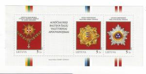 Lithuania Scott # 863 souvenir sheet. Medals, decorations, military topical