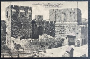 1925 Jerusalem Palestine RPPC Postcard Cover To Sweden Tower Of David & Hippieus