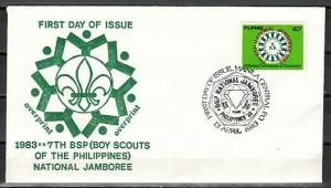 Philippines, Scott cat. 1634. `83 National Scout Jamboree.. First day cover.
