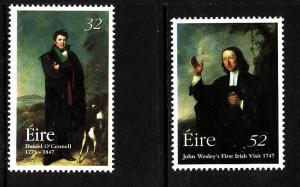 Ireland-Sc#1070-1-unused NH set-Daniel O'Connell-John Wesley-1997-