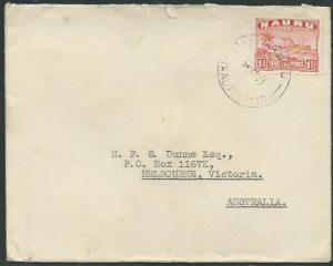 NAURU 1945 cover to Australia - 1½d freighter..............................37848