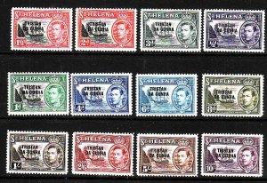 Tristan da Cunha-Sc#1-12-unused og LH KGVI overprinted definitive set-Ships-1952