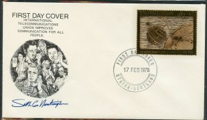 STAFFA SCOTLAND INT'L TELECOMMUNICATIONS YEAR  23kt GOLD FOIL STAMP ON FDC