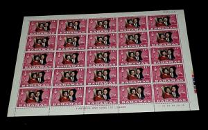 BAHAMAS #344, 1972, SILVER WEDDING ANNIVERSARY, SHEET OF 25 , MNH, NICE! LQQK!
