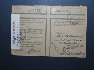 Egypt WWII British Active Service Cover to South Africa / Censored - Z10571