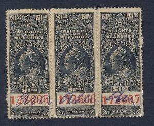 3x Canada Revenue W&M Stamps #FWM43-$1.50 on Paper Guide Value = $90.00