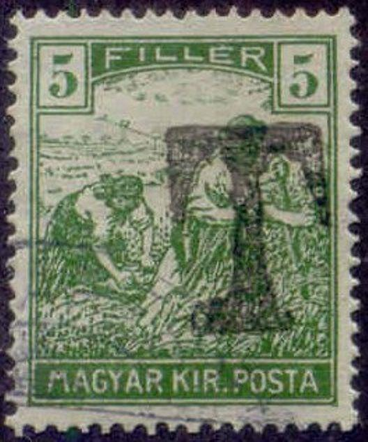 Hungary 1915-8 'T' Postage Due Overprint on 5f Harvesting Stamp