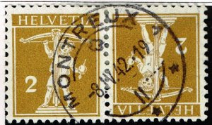 Switzerland Stamp  tête-bêche pair used stamp collection lot 2c -