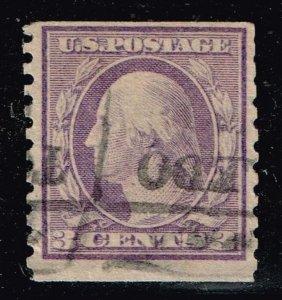 US STAMP # 456 3c violet Washington 1916 Used stamp crease