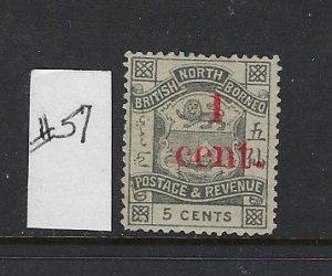NORTH BORNEO SCOTT #57 1892 SURCHARGE 1C ON 5C- UNUSED (NO GUM)