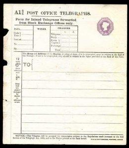 TP40b QV 6d Stock Exchange Telegraph Form Eyre and Spottiswoode