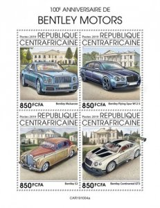 C A R - 2019 - Bentley Motors, 100th Anniv - Perf 4v Sheet  - M N H