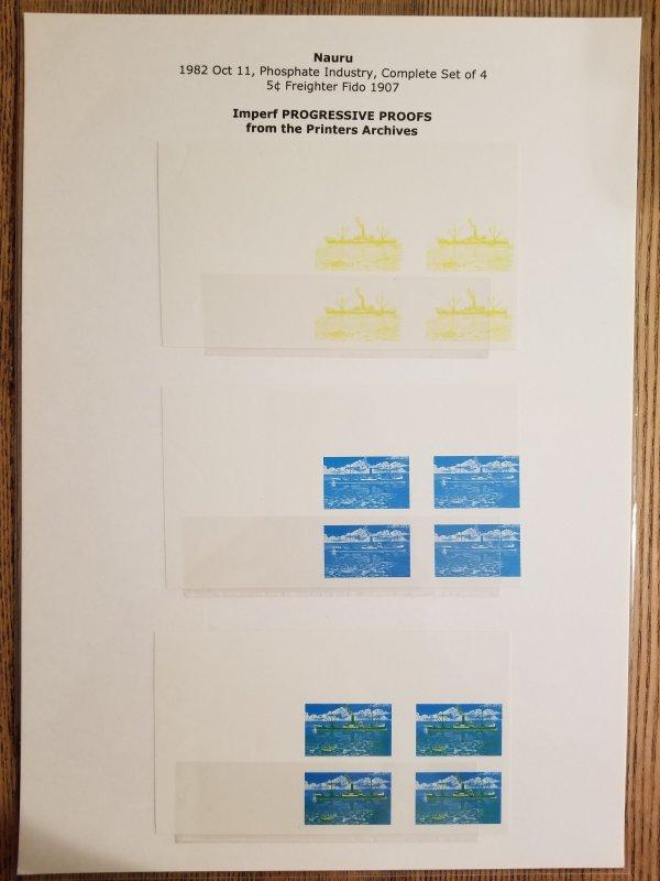 O) 1982 NAURU, IMPERFORATE PROGRESSIVE PROOFS, PAINTER - PROSPHATE INDUSTRY