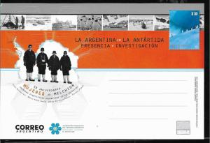 ARGENTINA 2018 POSTAL STATIONARY ANTARTIC ANTARCTICA WOMEN PRESENCE ANV UNUSED