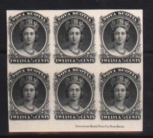 Nova Scotia #13P XF Mint Imprint Proof Block Of Six